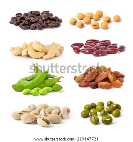 Cashew Nuts, green beans, soy beans, coffee beans,Pistachios,kidney beans,raisin isolated on white background - stock photo