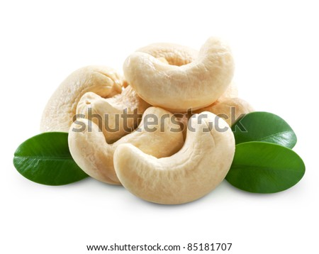 Cashew nuts isolated on white background. + Clipping Path - stock photo