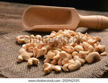 cashew nuts with salt - stock photo