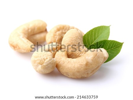 Cashew with leaves - stock photo