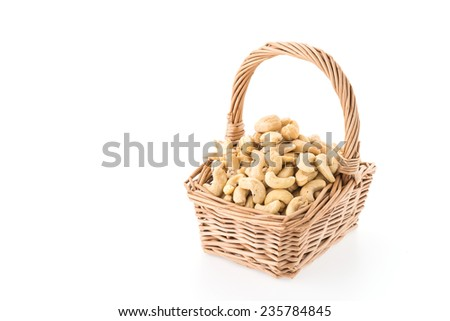 cashews isolated on white background - stock photo