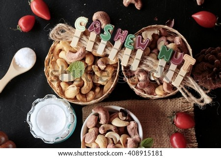 Cashews nuts are roasted delicious with salt - stock photo