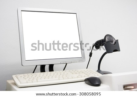 cashier counter with white blank screen - stock photo