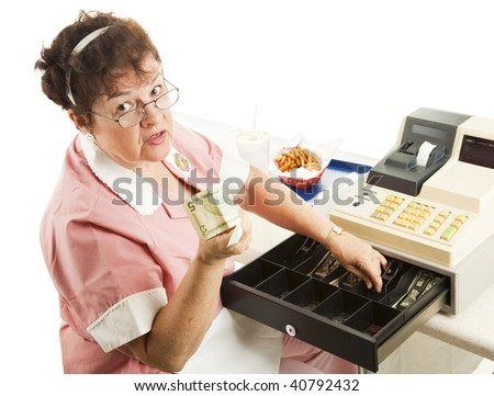 Cashier in a restaurant handing you your change.  Isolated on white. - stock photo