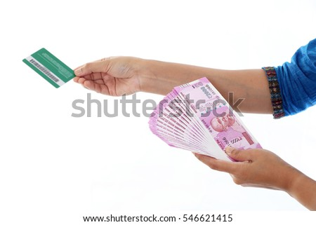 Cashless economy- Indian rupee notes and debit card
