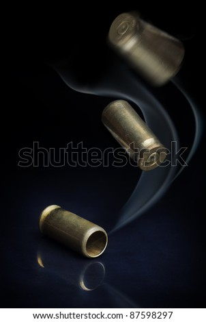 casings from the gun - stock photo