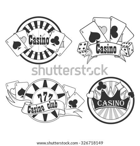 Casino and gambling badges or emblems each with word  Casino decorated with a hand of aces playing cards, dice, roulette board, casino chips or tokens and lucky number 777 - stock photo