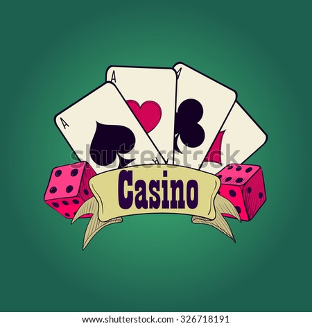 Casino and gambling badges or emblems each with word  Casino decorated with a hand of aces playing cards, dice - stock photo