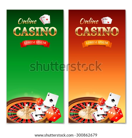 Casino background. Vertical banner, flyer, brochure on a casino theme with roulette wheel, game cards and dice. Rasterized Copy - stock photo