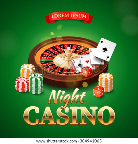 Casino background with roulette wheel, chips, game cards and dice. Rasterized Copy - stock photo