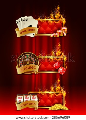 Casino banners set with cards, chips, slot machine, dice, roulette against curtain backdrop. - stock photo