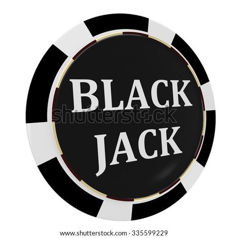 Casino, black jack chip - stock photo