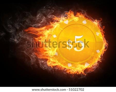 Casino Chip in Fire. Computer Graphics. - stock photo