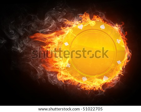 Casino chip on fire. Illustration of the casino chip enveloped in flames isolated on black background. - stock photo