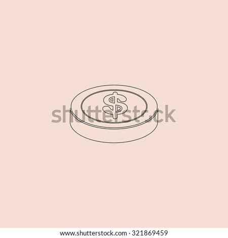 Casino chip. Outline icon. Simple flat pictogram on pink background - stock photo