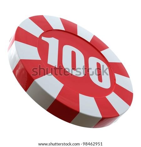 Casino chip over white background. 3D render illustration. - stock photo