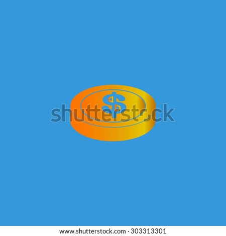 Casino chip. Simple flat icon on blue background - stock photo