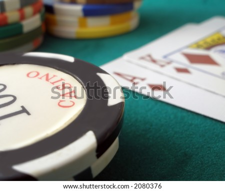 Casino chips and ace king suietd - stock photo