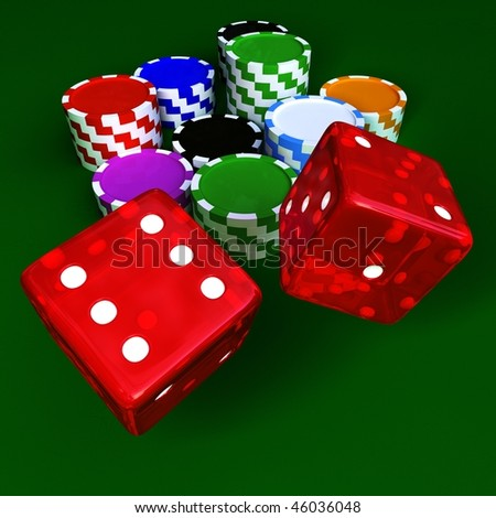 Casino chips and transparent red dices on green table - stock photo