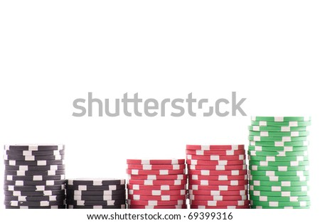 Casino Chips Background with Custom Space - stock photo