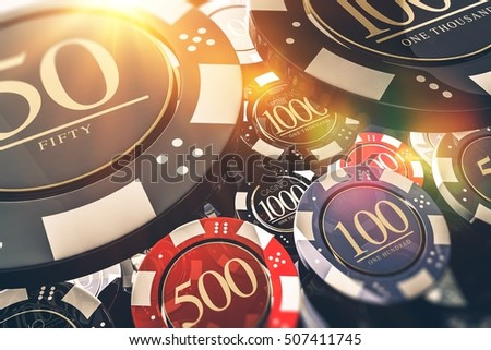 Casino Chips Gambling Concept 3D illustration. Casino Games.