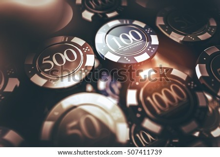 Casino Chips Gambling Concept 3D Render Illustration. Casino Games Chips.