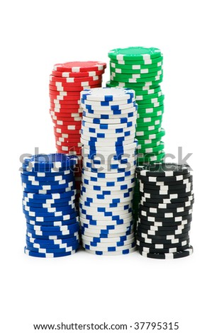Casino chips isolated on the white - stock photo