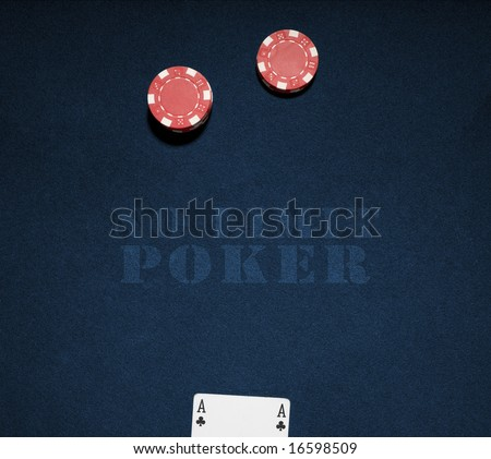 Casino chips on a blue background with no limit word. Vegas poker concept - stock photo