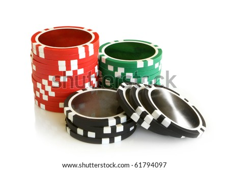 Casino chips on a white background - stock photo