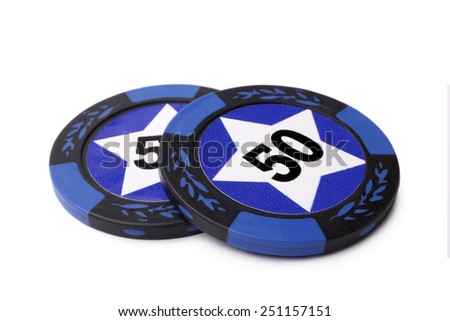 Casino chips on white background - stock photo