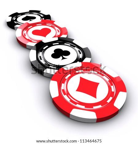 Casino chips over white background - stock photo