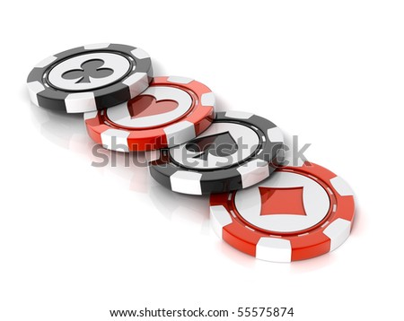 Casino chips over white background - stock photo