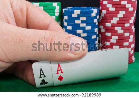 Casino chips. Photo of attributes gambling - stock photo