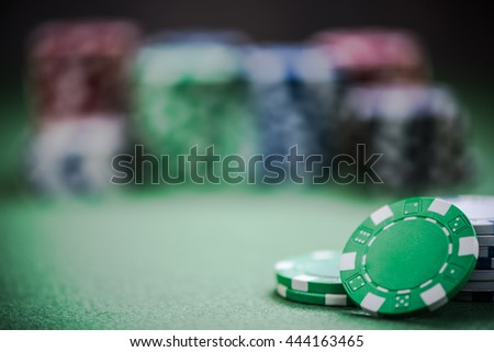 casino chips, selective focus with copy space