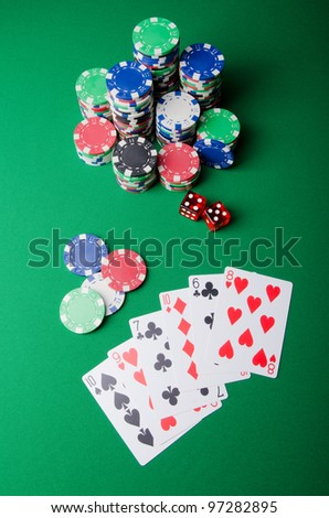 Casino concept with chips and cards
