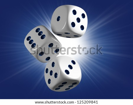 Casino cubes. Lucky strike - stock photo