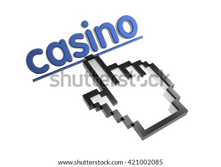 casino. 3d rendered inscription. Link and finger, pointer. Isolated on white - stock photo