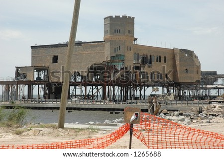 Casino destroyed in Biloxi Mississippi by hurricane Katrina