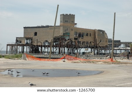 Casino destroyed in Biloxi Mississippi by hurricane Katrina - stock photo