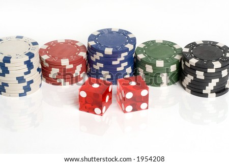 Casino Dice Snake Eyes and chips
