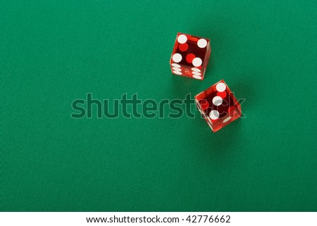 casino dice, top view, number seven, background