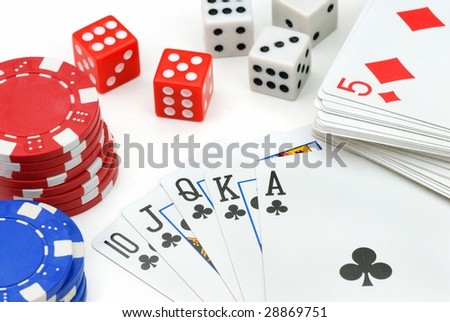 Casino Elements--Chips,dices and pokers on the white