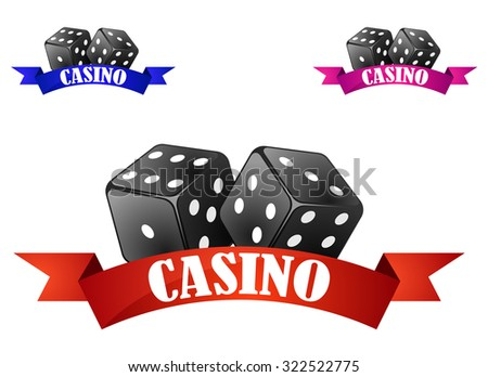 Casino emblem or badge with two dice over a red ribbon banner with the word Casino isolated on white background - stock photo