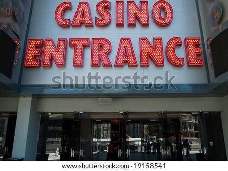 Casino entrance sign at the Las Vegas Strip - stock photo