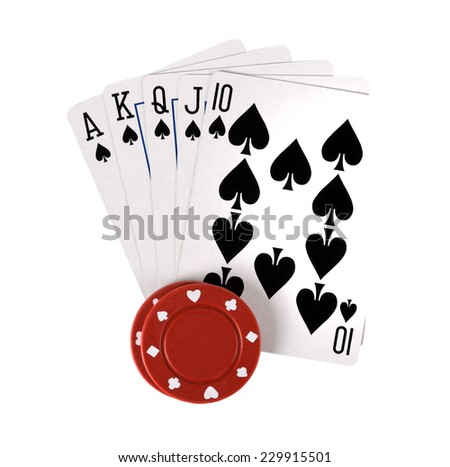 Casino gambling chips and poker playing cards - stock photo