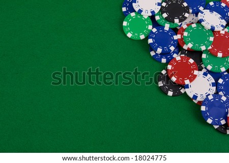 Casino gambling chips with copy space - stock photo