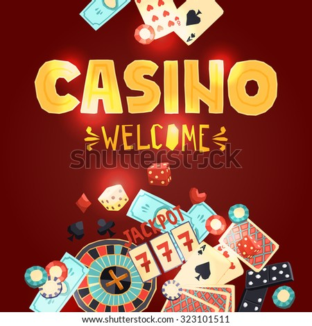 Casino gambling poster with poker cards dice roulette domino chips slot machine  illustration - stock photo