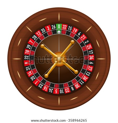 Casino gambling roulette wheel.  illustration isolated on white background.