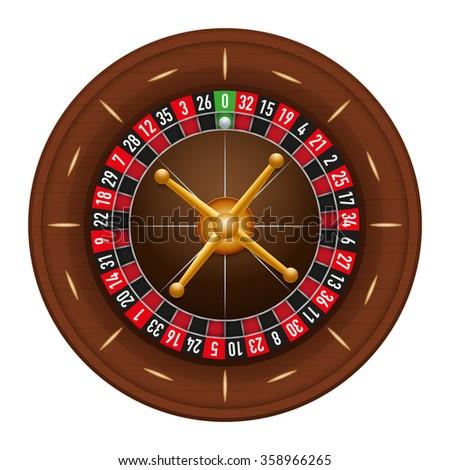 Casino gambling roulette wheel.  illustration isolated on white background. - stock photo