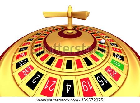Casino gambling roulette wheel isolated on white background - stock photo